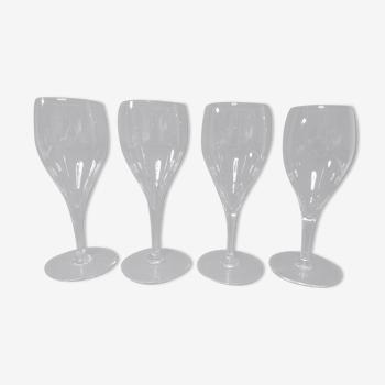4 verres cristal de Baccarat modèle Saint Remy H 18,5 cm signés
