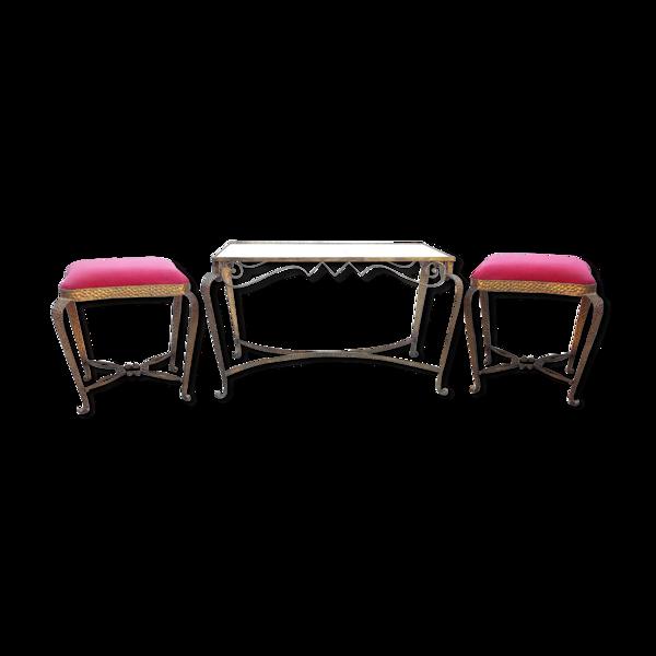 Table et deux tabourets Luigi Colli Italie années 40