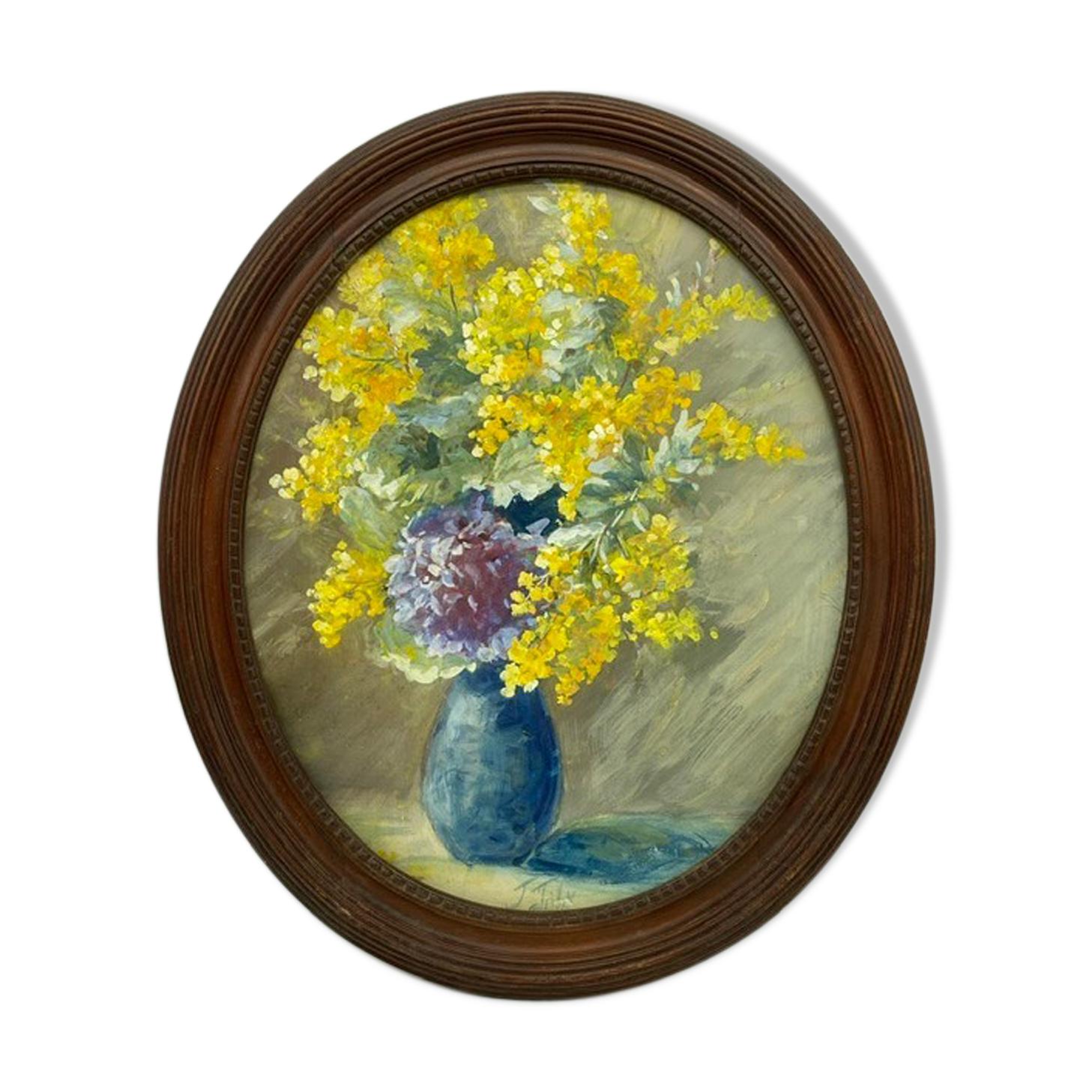 Tableau ancien nature morte aux mimosas signée années 60/80