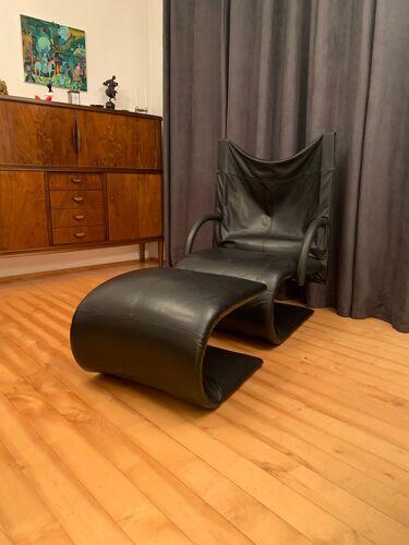 Zen armchair with footstool designed by claude brisson, ligne roset, france, 1980s