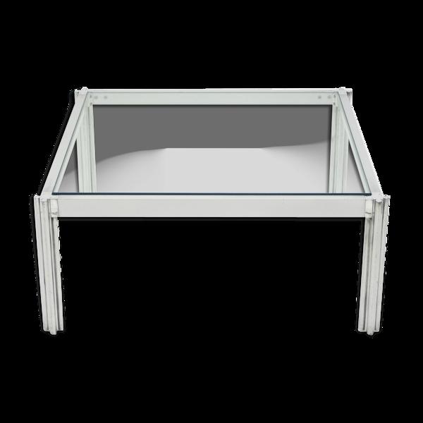 Table basse carrée chrome aluminium George Ciancimino 1975