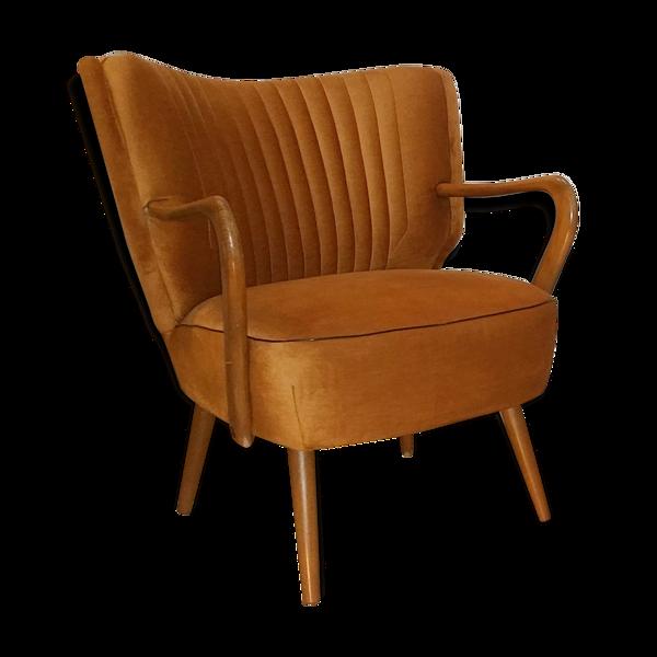Fauteuil cocktail années 50 60 vintage doré