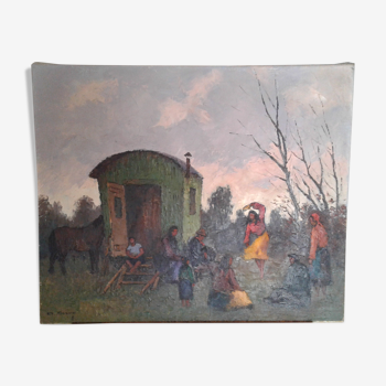 "Tableau huile sur toile ""camp de bohemiens"" Olivier Sery"
