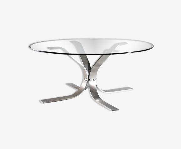 Table basse ronde verre et métal
