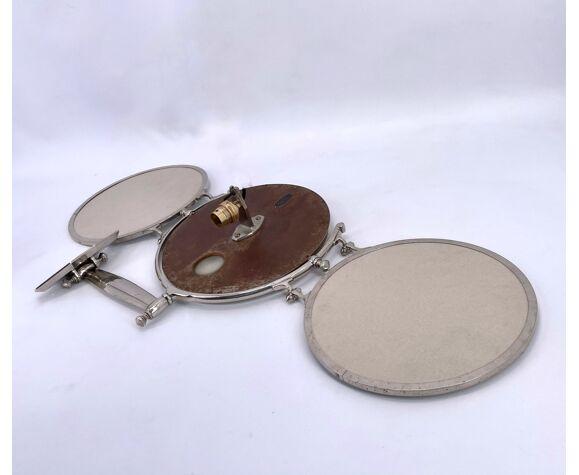 Miroir triptyque en laiton chromé de la maison brot 1930