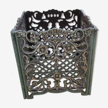 Cache pot metal vieilli vert et bronze rectangulaire