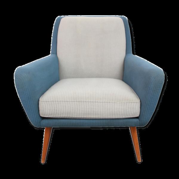 Fauteuil années 1950  gris et bleu