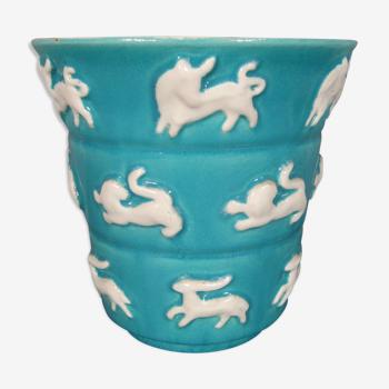 Ancien vase vintage céramique années 1960 décor signes du zodiaque astrologie