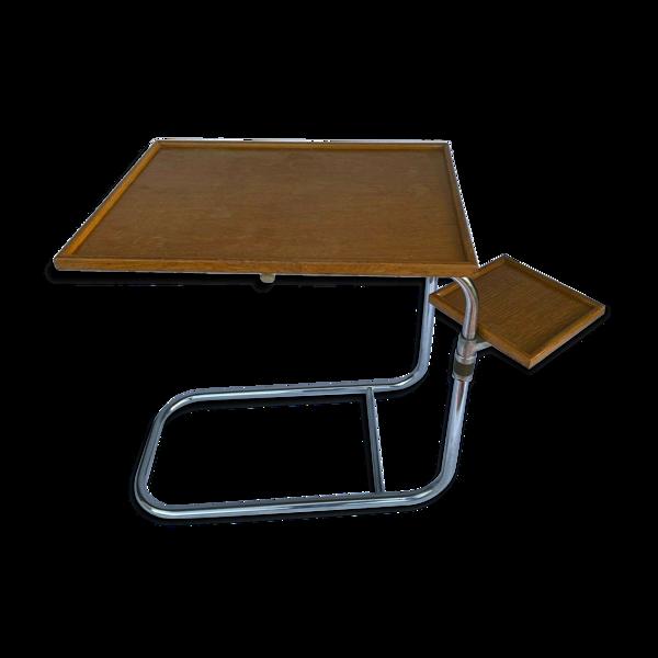 Selency Table en metal chrome 1950 pivantante pour petit dejeuner plateau bois