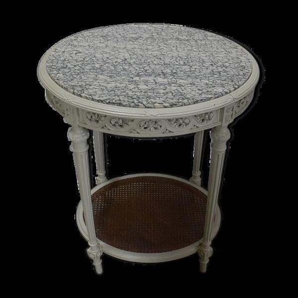 Guéridon en bois réchampi et cannage style Louis XVI  1920