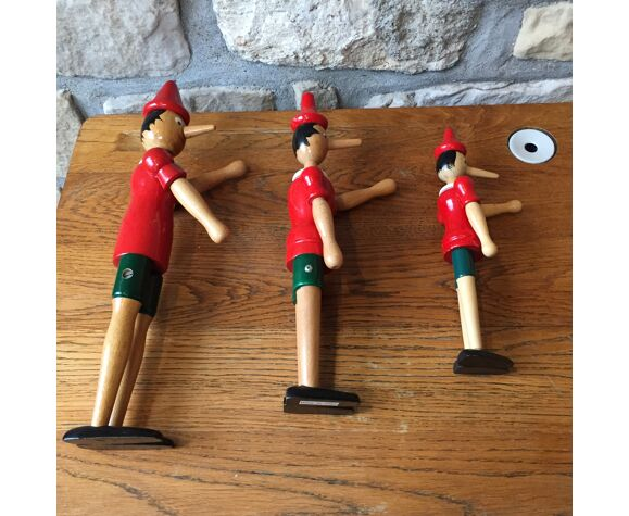 Trio of old wooden Pinocchio Made in Italy