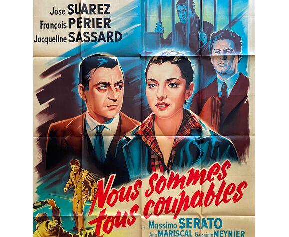 """Affiche cinéma """"Nous sommes tous coupables"""" François Périer, Loi Justice 120x160cm 1959"""