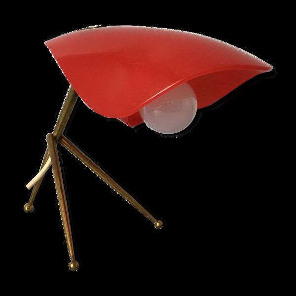 Lampe de table tripode laiton plexiglas Cosack années 1950