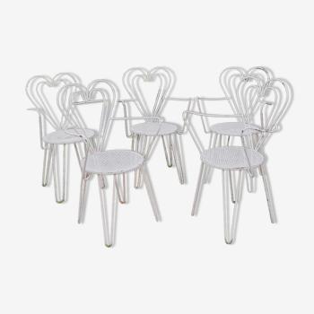 Série de 5 fauteuils en fer forgé 1950