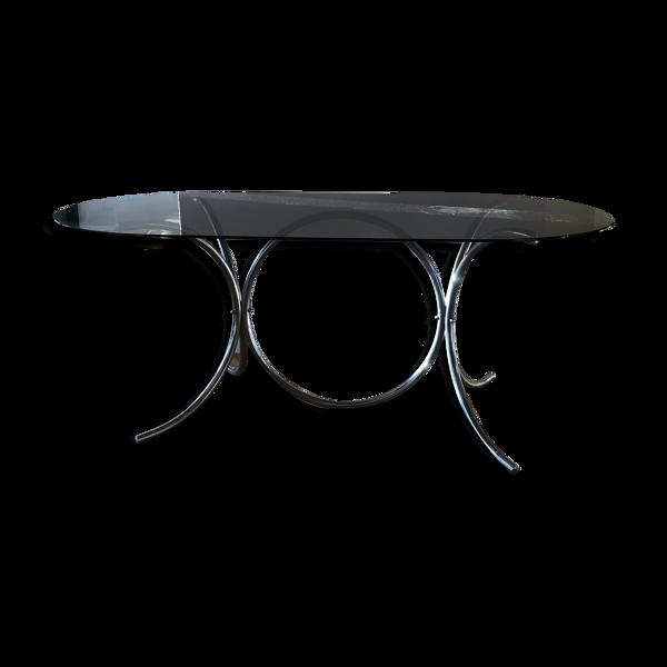 Selency Table à manger verre fumé et chrome