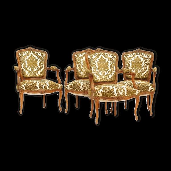 Set de 4 fauteuils cabriolets de style Louis XV