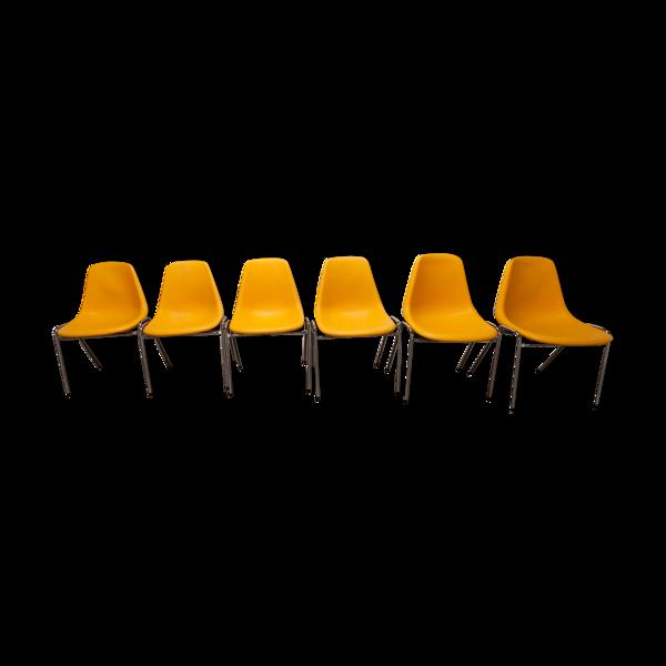 Selency Lot de 6 chaises Orly design par Pollak 1975 vintage