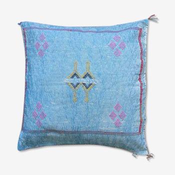 Sabra Blue cactus silk flower cushion Sabra