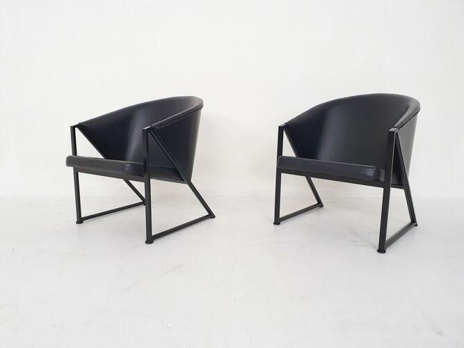 Paire de fauteuils en métal noir et cuir par Jouko Jarvisalo pour Inno, Finlande années 1980