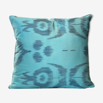 Blue silk and cotton cushion cover