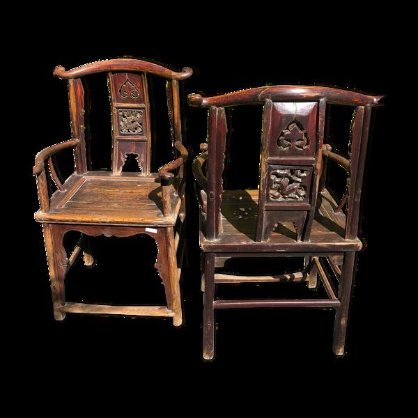 Paire de fauteuils de lettrés