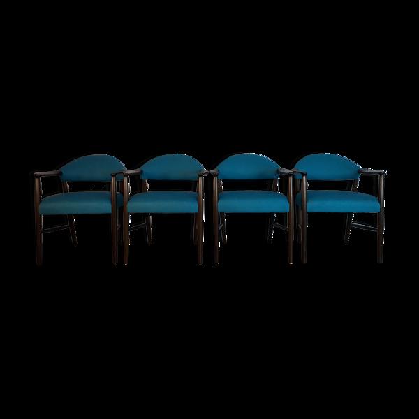 Set 4 chaises de salon par Kurt Olsen Vintage scandinave 1950s