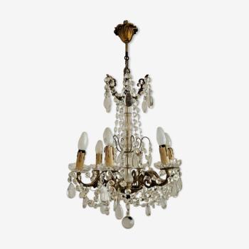 Suspension marie-antoinette bronze verre & cristal 6 lumière