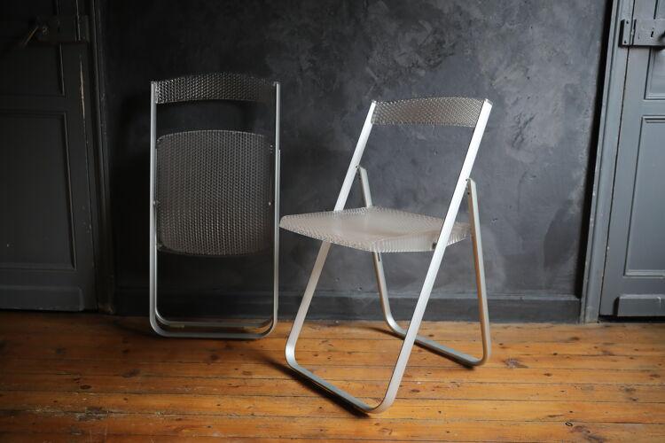 Lot de 2 chaises pliantes cristal Honeycomb par Alberto Meda