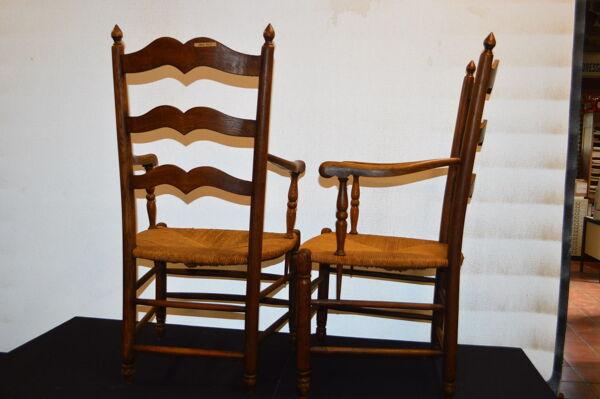 2 fauteuils style campagnard en chêne