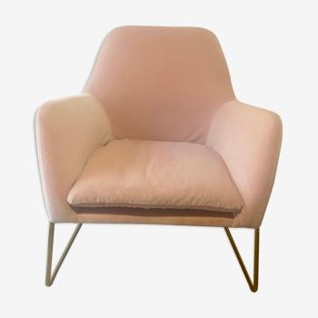 Armchair, pink velvet blush