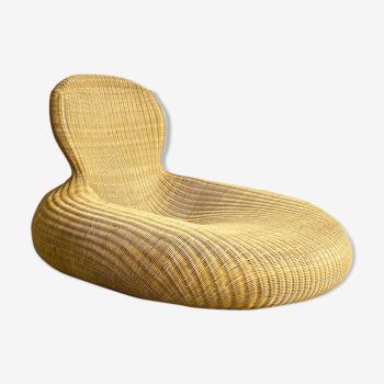 Chaise longue en osier par Carl Öjerstam pour Ikea