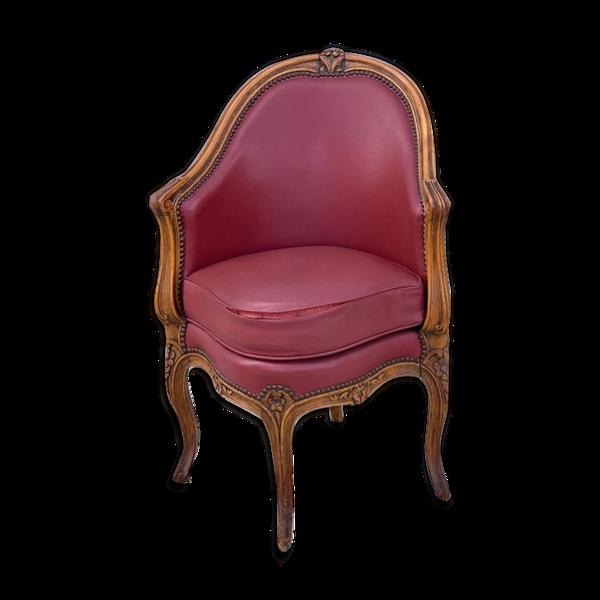 Selency Fauteuil de bureau cuir rouge