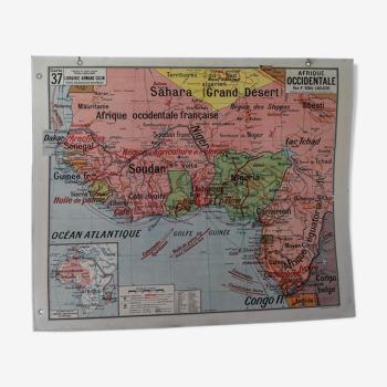 La carte de géographie Afrique Occidentale / Tunisie