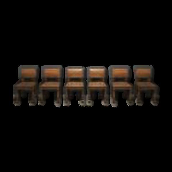 Selency Ensemble de six chaises brutalistes en chêne