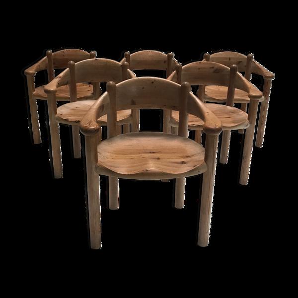 Selency Chaise à manger en pin brutaliste par Rainer Daumiller pour Hirtshals Savvaerk années 1970, ensemble de 6