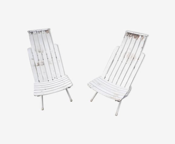 Paire de fauteuils de jardin fer et bois ancien