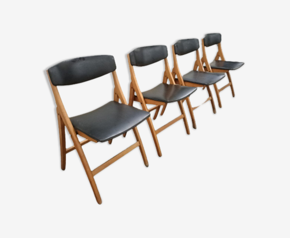 Chaises pliantes scandinave en teck