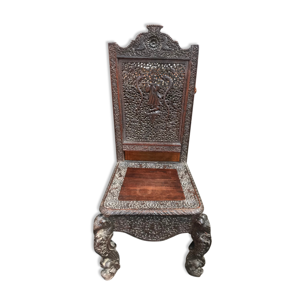 Chaise indienne en bois sculpté