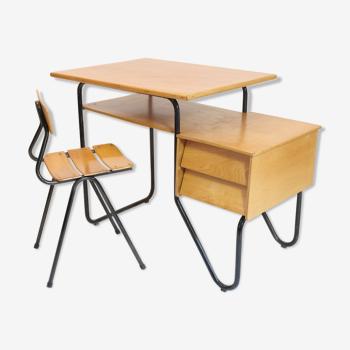Bureau et chaise enfant des année 60