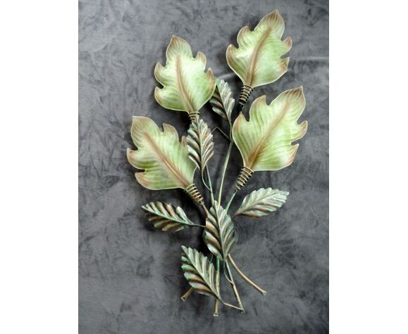 Applique en tôle peinte verre de Murano vegetal haut 105 cm