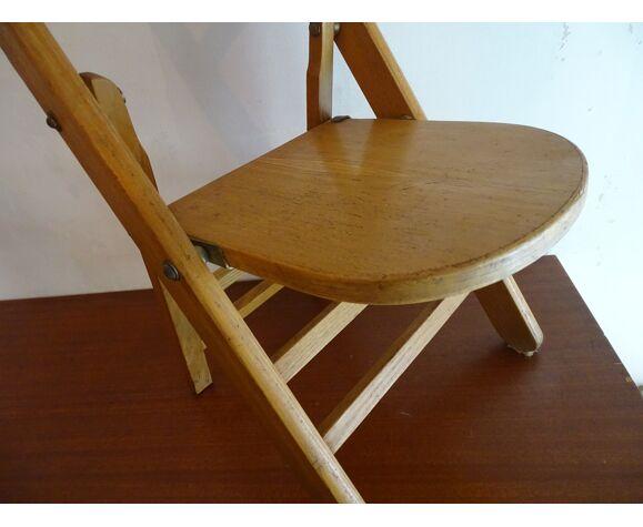 Chaise pliante enfant vintage en bois