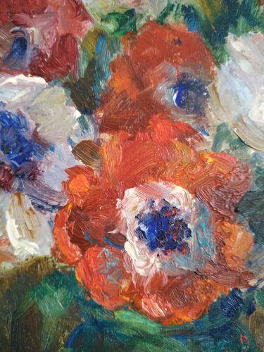 Le bouquet d'anémones de Victor Ferreri huile sur panneau