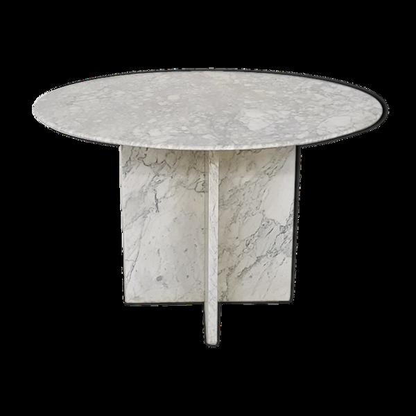 Table à manger ronde en marbre du milieu du siècle, années 1970