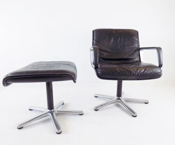 Wilkhahn Delta black leather armchair with ottoman by Delta Design