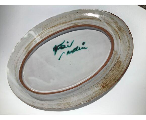 Plat ovale Vallauris  chardons fait main