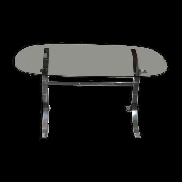 Table de salle à manger 70's verre fumé