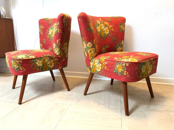 Pair of cocktail chairs Polsterm-bel Werkstein 1970