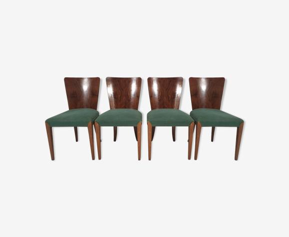 Ensemble de 4 chaises à manger  Art Déco par Jindřich Halabala, années 1940