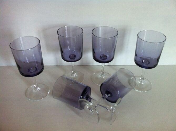 6 verres à vin blanc vintages Luminarc parme