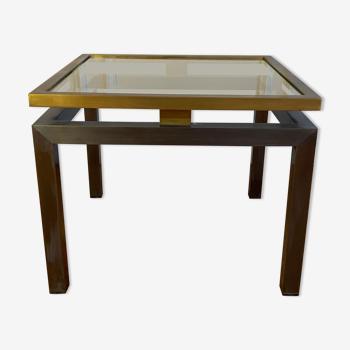 Table d'appoint vintage laiton et métal gris foncé